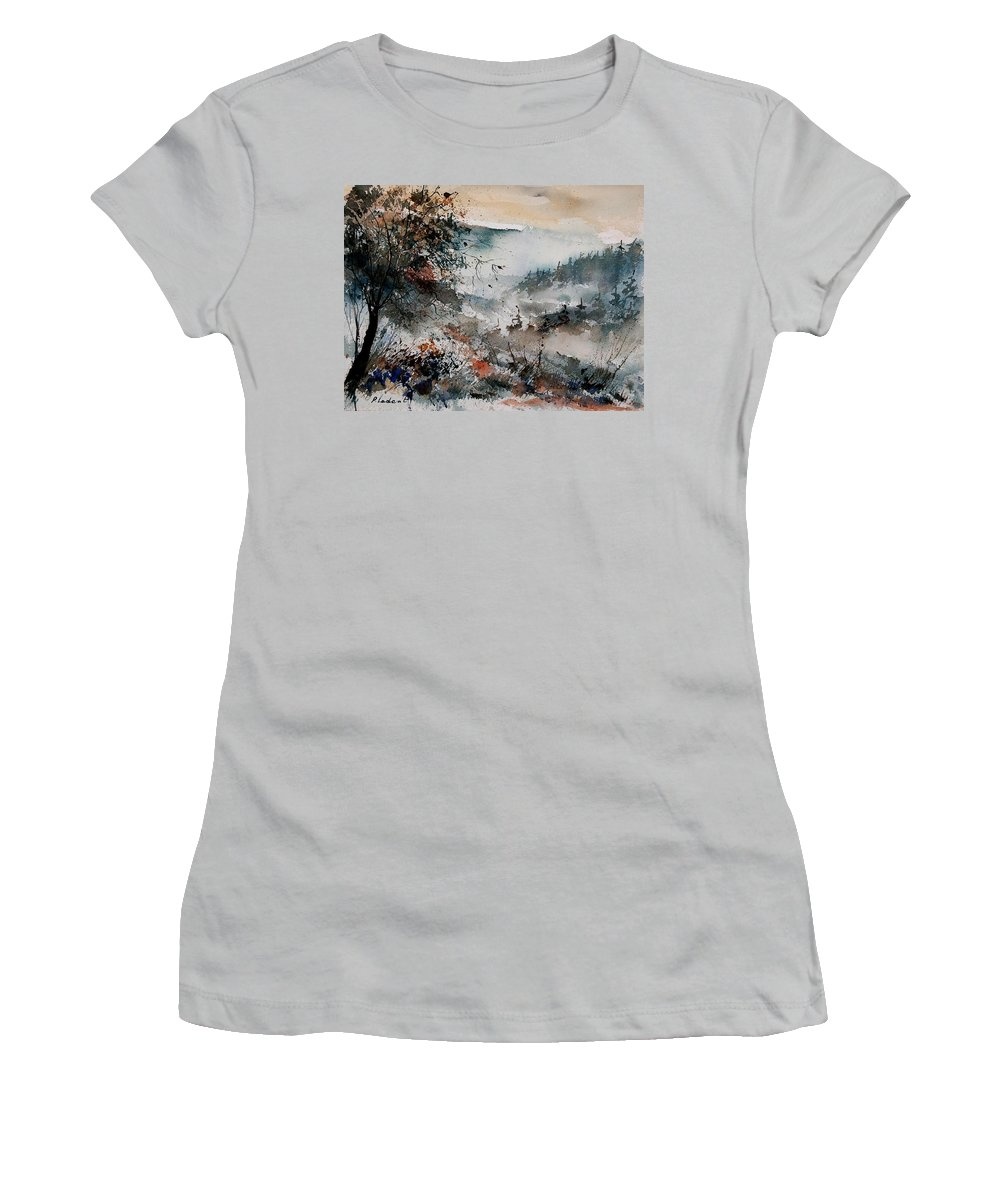 Winter Women's T-Shirt (Athletic Fit) featuring the painting Watercolor 081108 by Pol Ledent