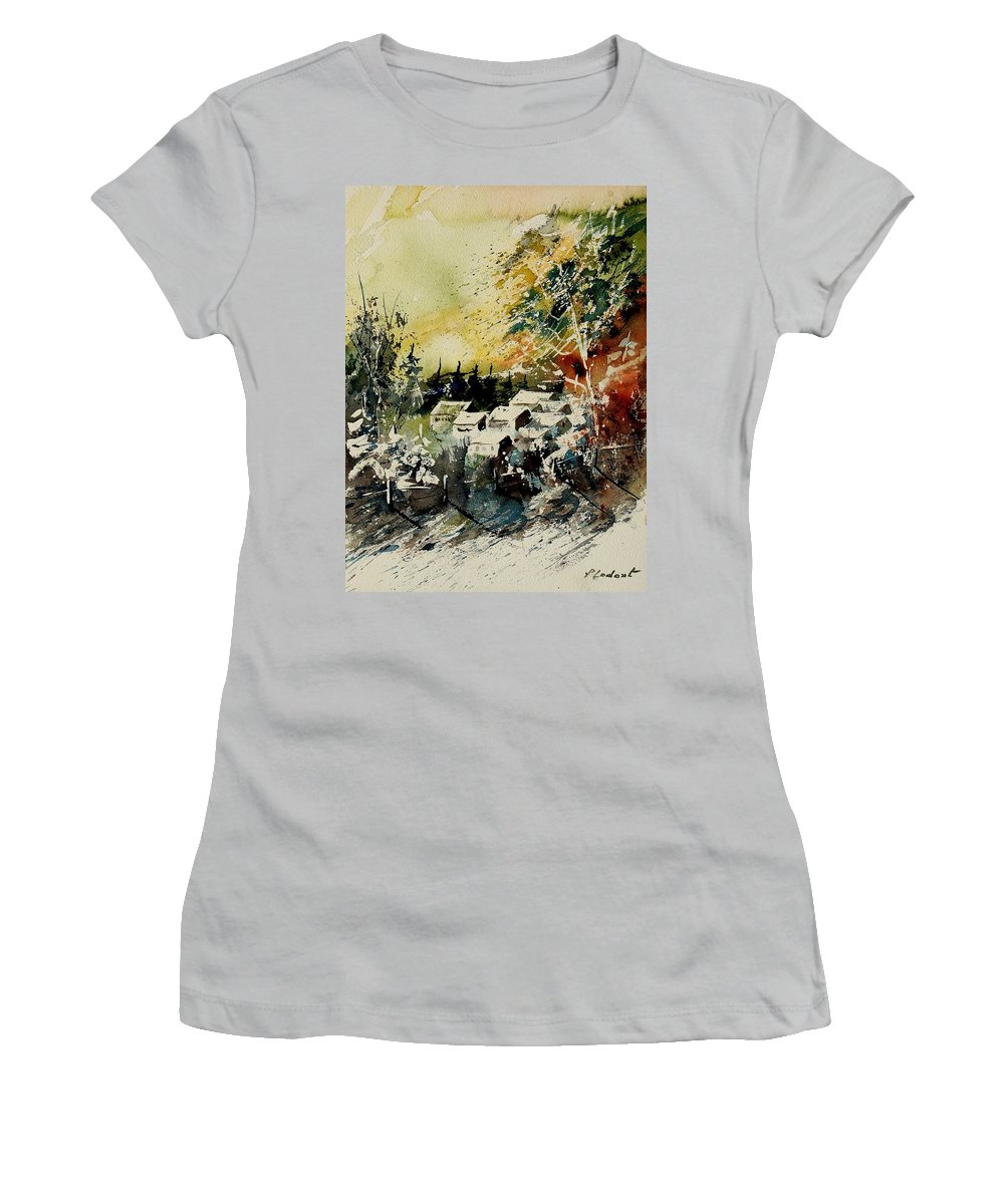 Village Women's T-Shirt (Athletic Fit) featuring the painting Watercolor 130708 by Pol Ledent