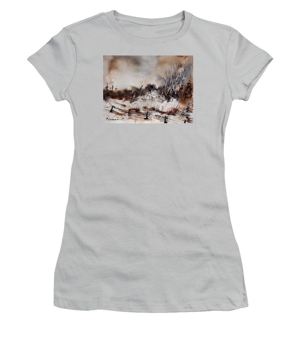 Winter Women's T-Shirt (Athletic Fit) featuring the painting Watercolor 150708 by Pol Ledent