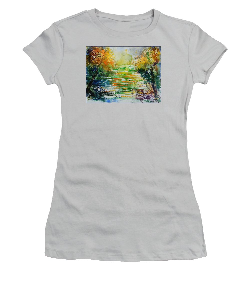 Water Women's T-Shirt (Athletic Fit) featuring the painting Watercolor 230507 by Pol Ledent