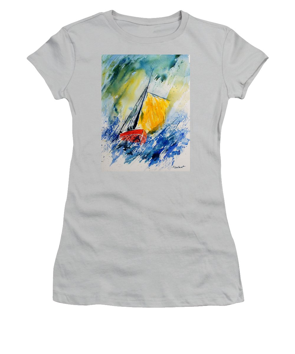 Sea Waves Ocean Boat Sailing Women's T-Shirt (Athletic Fit) featuring the painting Watercolor 280308 by Pol Ledent