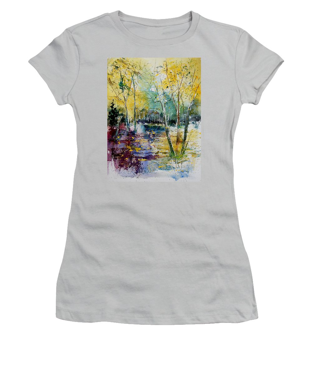 Pond Women's T-Shirt (Athletic Fit) featuring the painting Watercolor 280809 by Pol Ledent