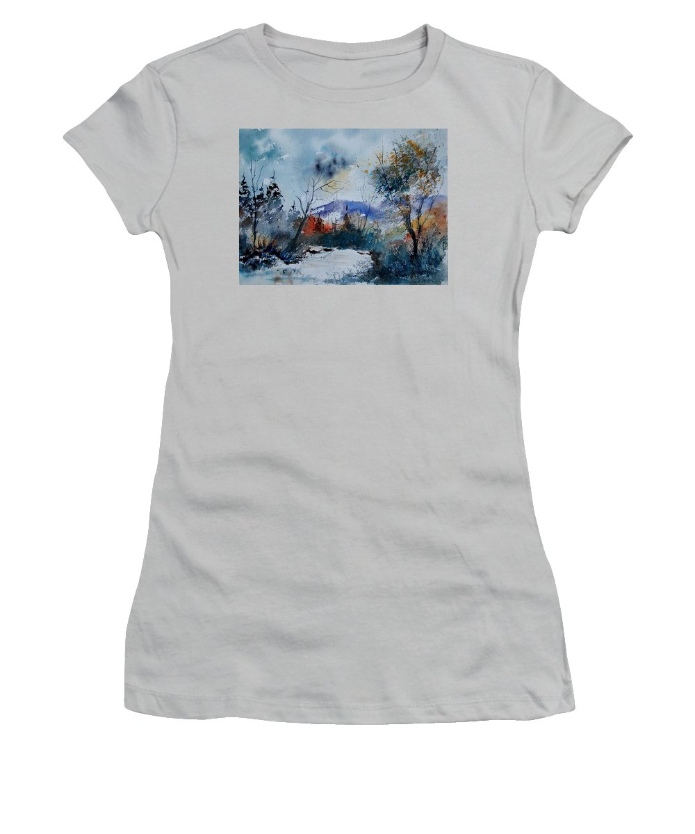 Landscape Women's T-Shirt (Athletic Fit) featuring the painting Watercolor 802120 by Pol Ledent