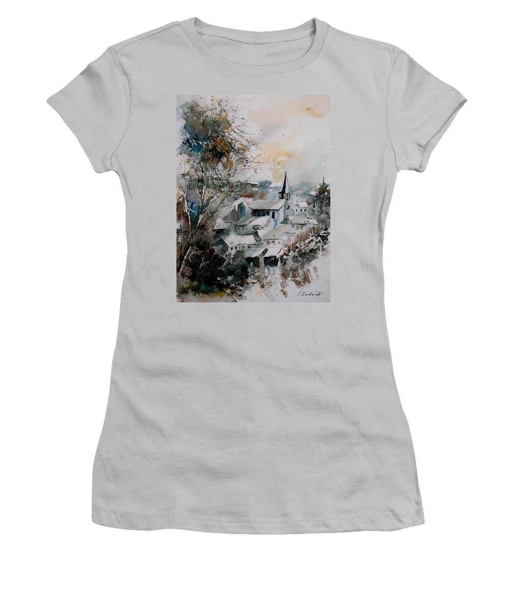 Winter Women's T-Shirt (Athletic Fit) featuring the painting Watercolor Houyet by Pol Ledent