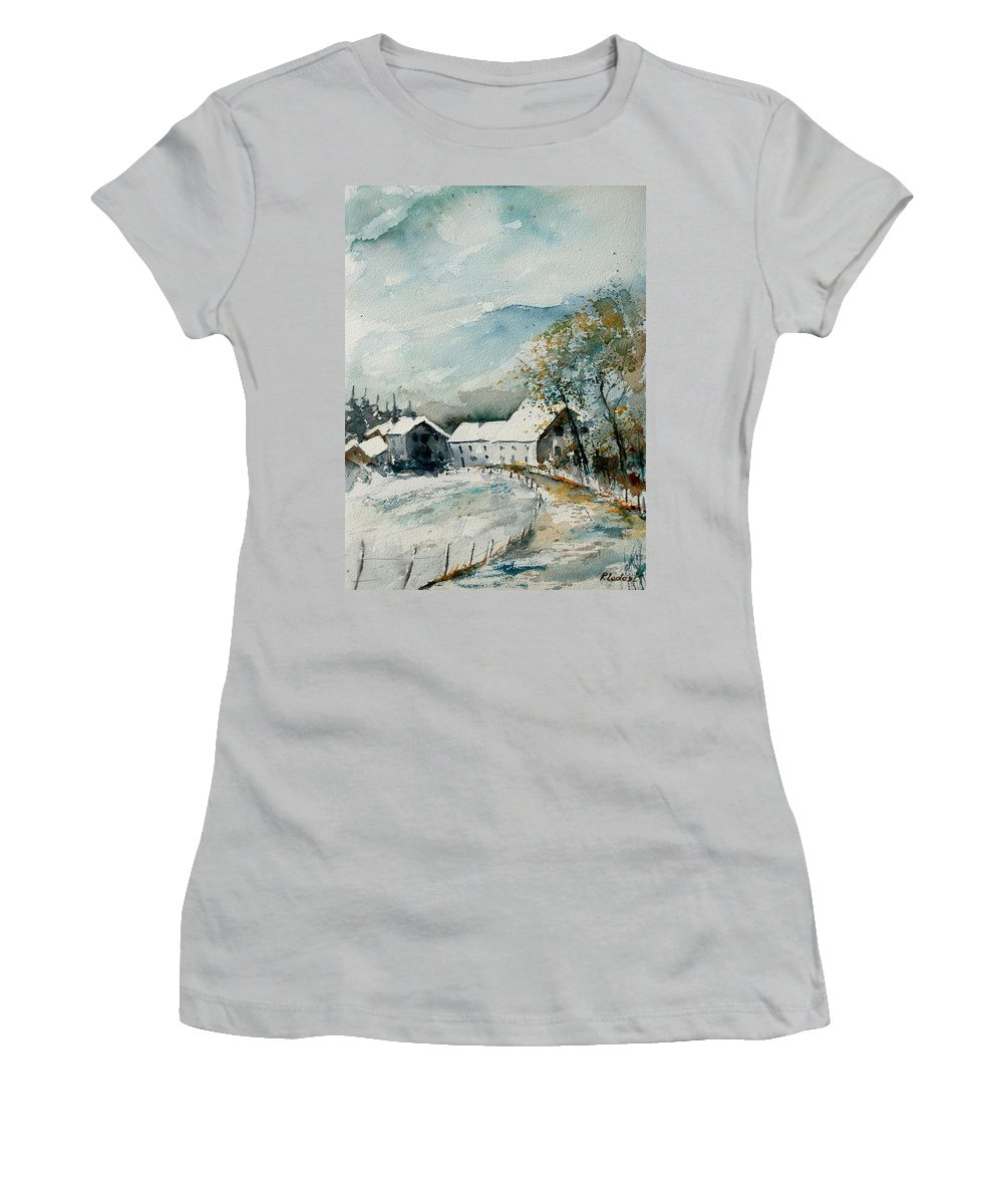 River Women's T-Shirt (Athletic Fit) featuring the painting Watercolor Sechery 1207 by Pol Ledent