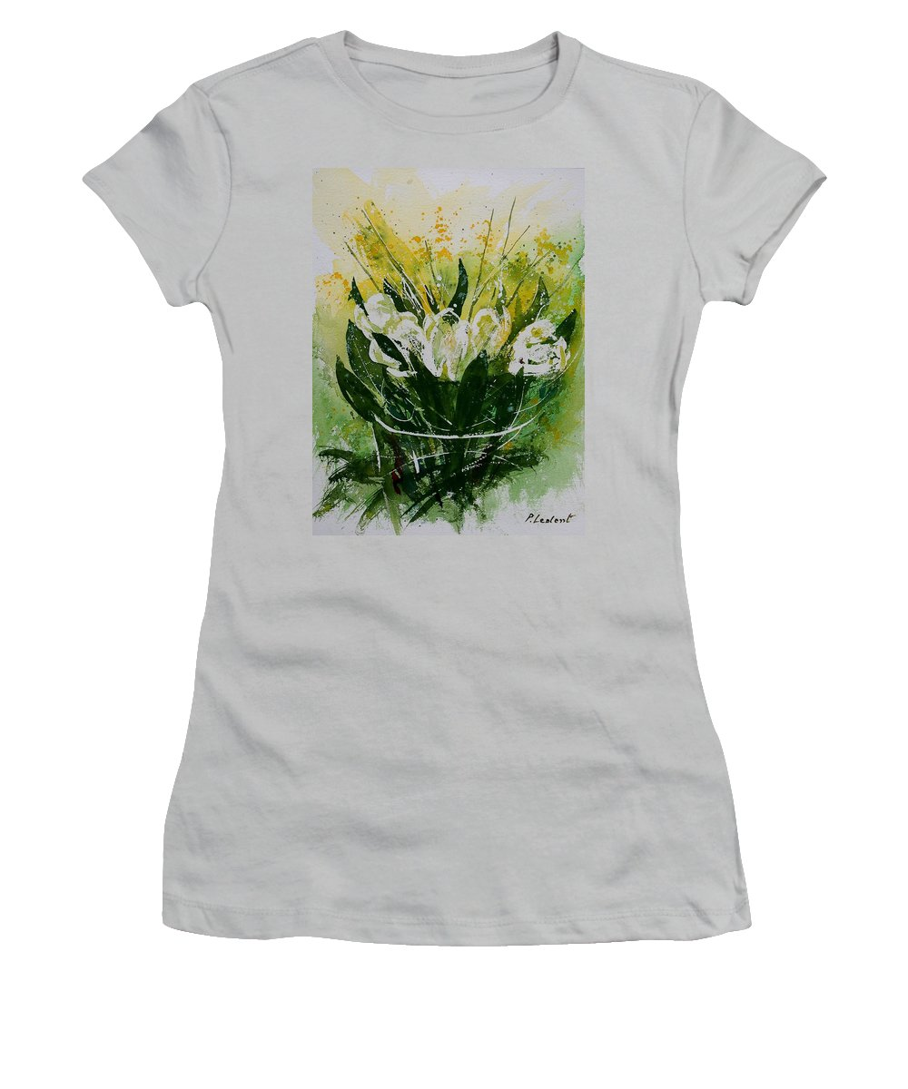 Flowers Women's T-Shirt (Athletic Fit) featuring the painting Watercolor Tulips by Pol Ledent