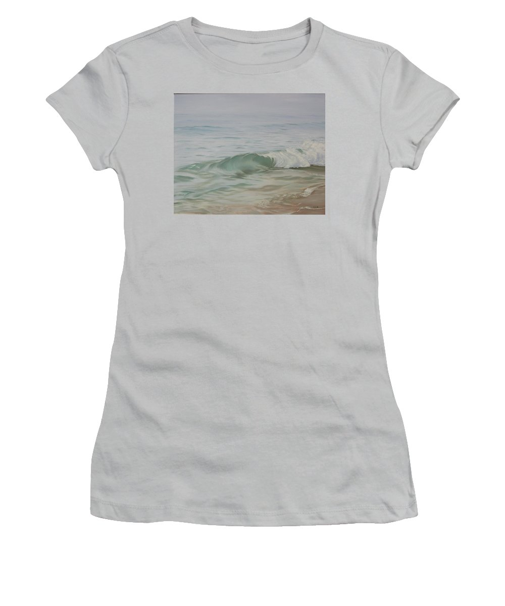 Seascape Women's T-Shirt (Athletic Fit) featuring the painting Waves Out Of The Fog by Lea Novak