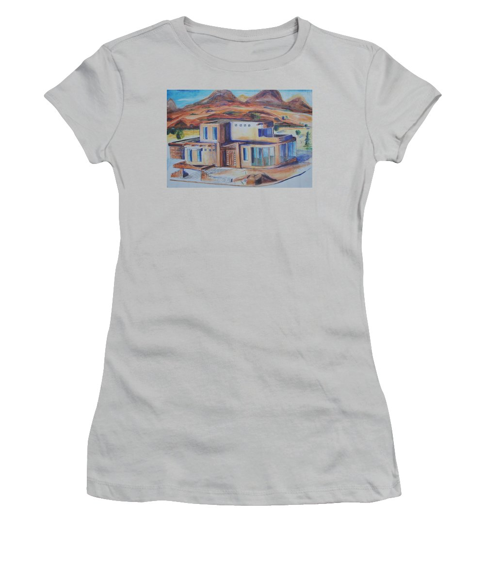 Floral Women's T-Shirt (Athletic Fit) featuring the painting Western Home Illustration by Eric Schiabor