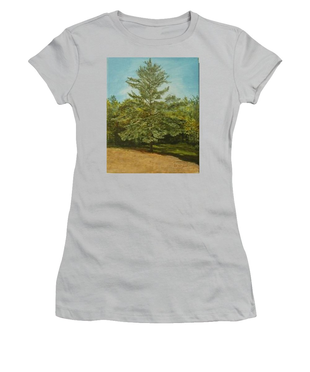 Pine Tree Women's T-Shirt (Athletic Fit) featuring the painting White Lake by Leah Tomaino