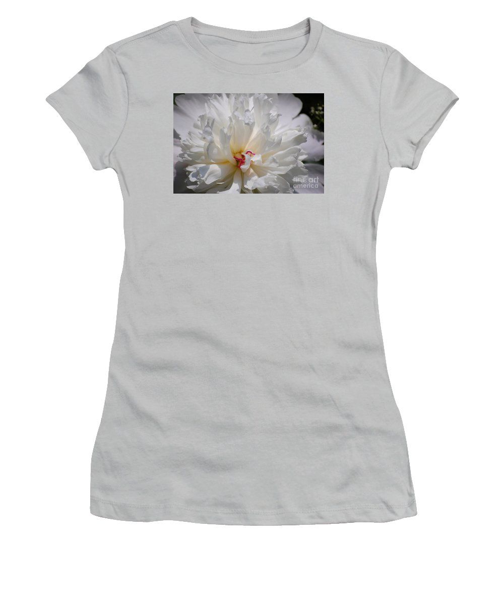 Digital Photography Women's T-Shirt (Athletic Fit) featuring the photograph White Peony by David Lane