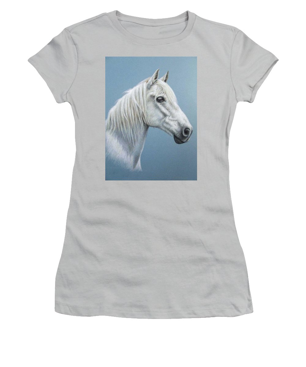 Horse Stallion White Pferd Portrait Animal Realism Pastel Women's T-Shirt (Athletic Fit) featuring the pastel White Stallion by Nicole Zeug
