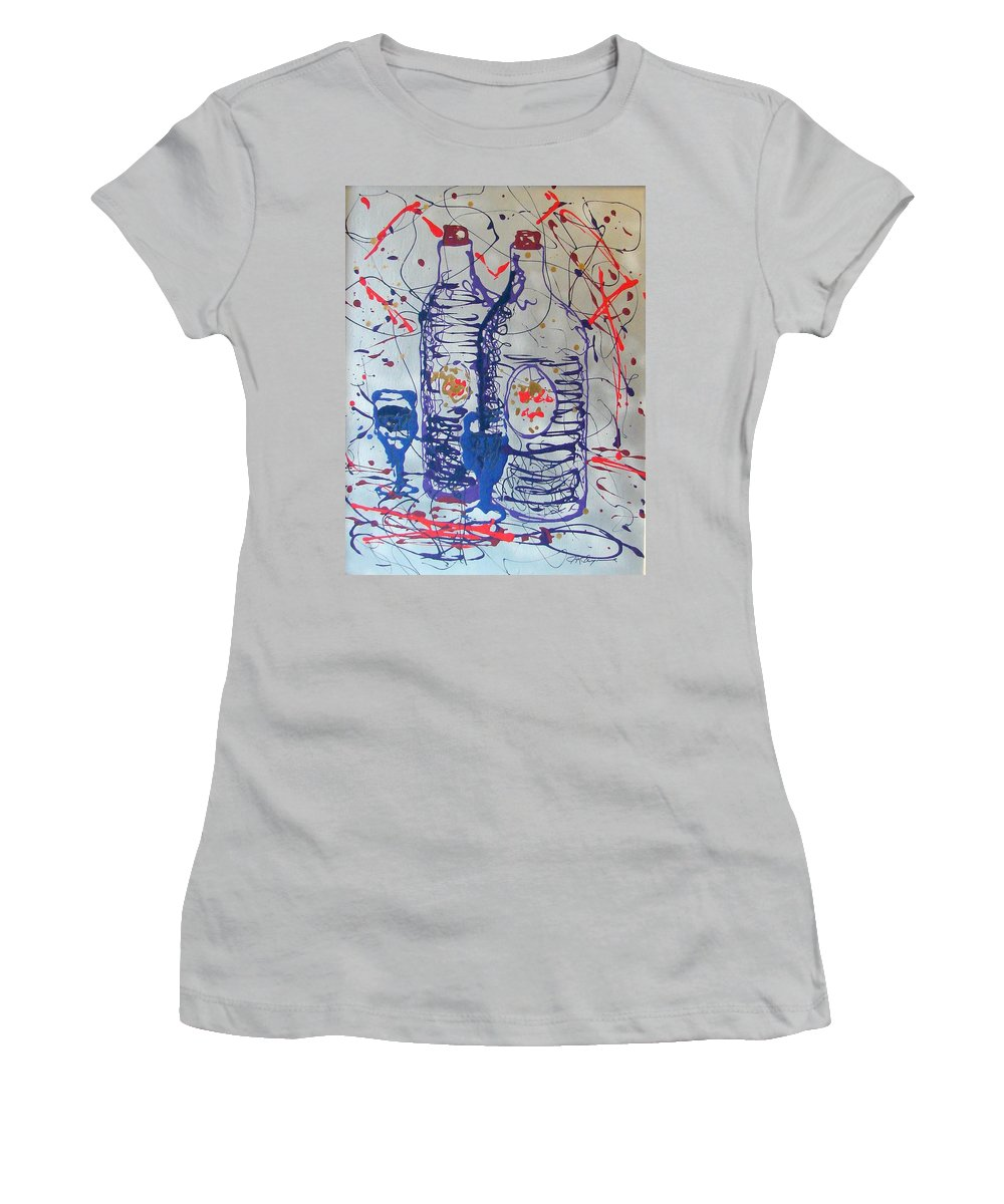 Wine Glass And Bottles Women's T-Shirt (Athletic Fit) featuring the painting Wine Jugs by J R Seymour