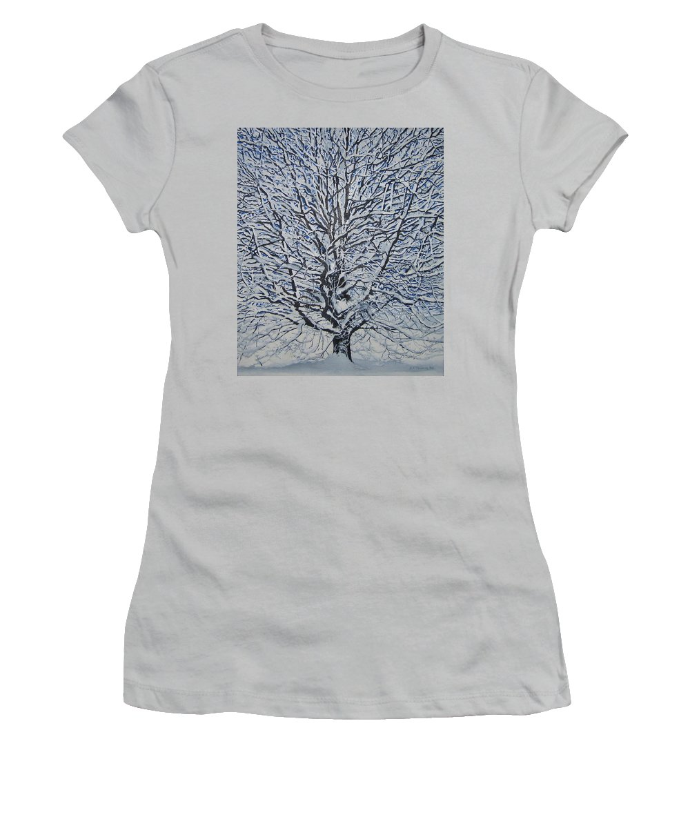Winter Women's T-Shirt (Athletic Fit) featuring the painting Winter '05 by Leah Tomaino