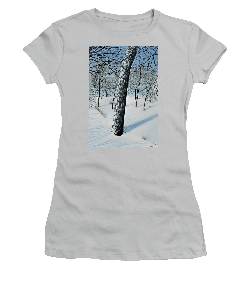 Landscape Women's T-Shirt (Athletic Fit) featuring the painting Winter Maple by Kenneth M Kirsch