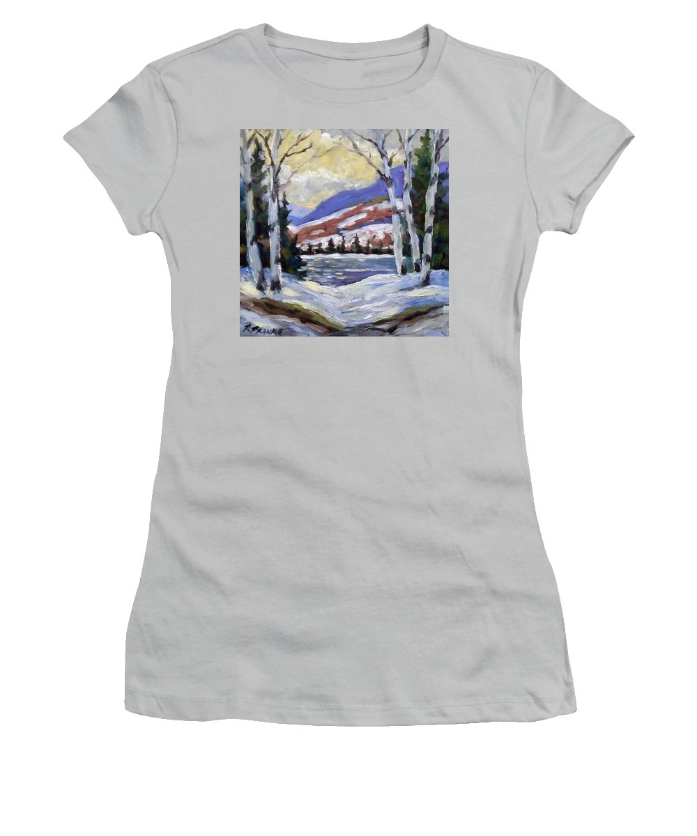 Art Women's T-Shirt (Athletic Fit) featuring the painting Winter Reflections by Richard T Pranke