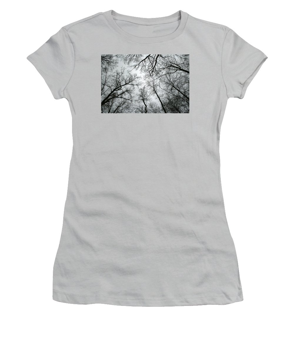 Winter Sky Tree Trees Grey Gloomy Peaceful Quite Calm Peace Cloudy Overcast Dark Women's T-Shirt (Athletic Fit) featuring the photograph Winter Sky by Andrei Shliakhau