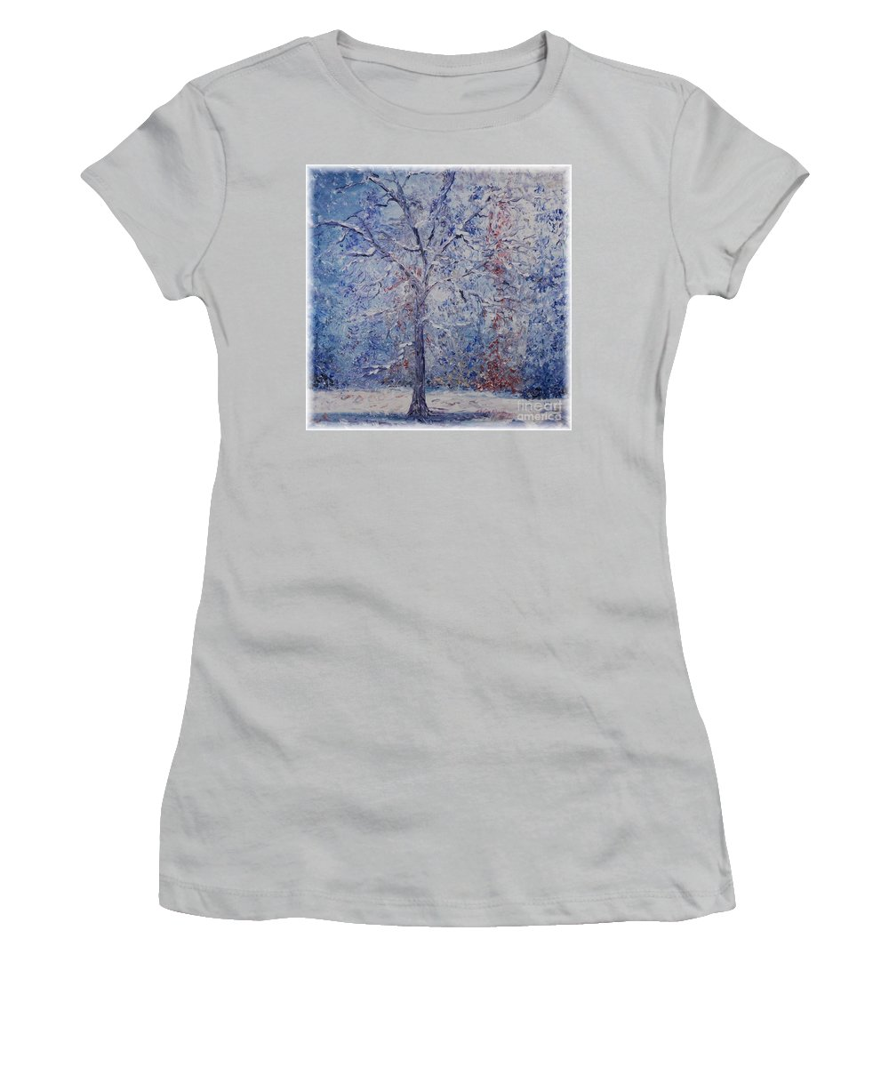 Winter Women's T-Shirt (Athletic Fit) featuring the painting Winter Trees by Nadine Rippelmeyer