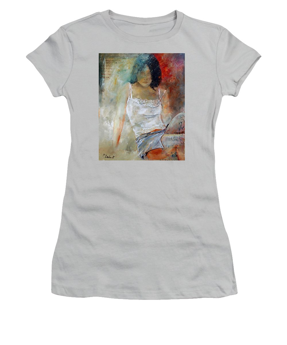 Nude Women's T-Shirt (Athletic Fit) featuring the painting Young Girl Sitting by Pol Ledent