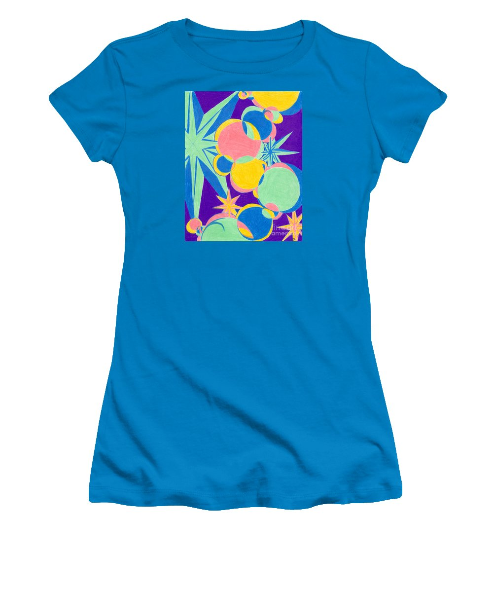 Color Women's T-Shirt (Athletic Fit) featuring the drawing Planets And Stars by Kim Sy Ok