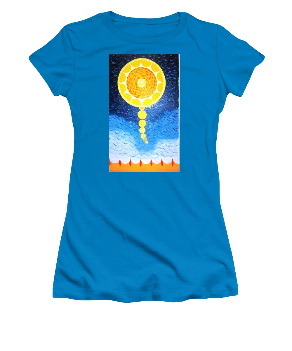 Sky Scape Women's T-Shirt (Athletic Fit) featuring the painting Wheat-shire by MERLIN Vernon