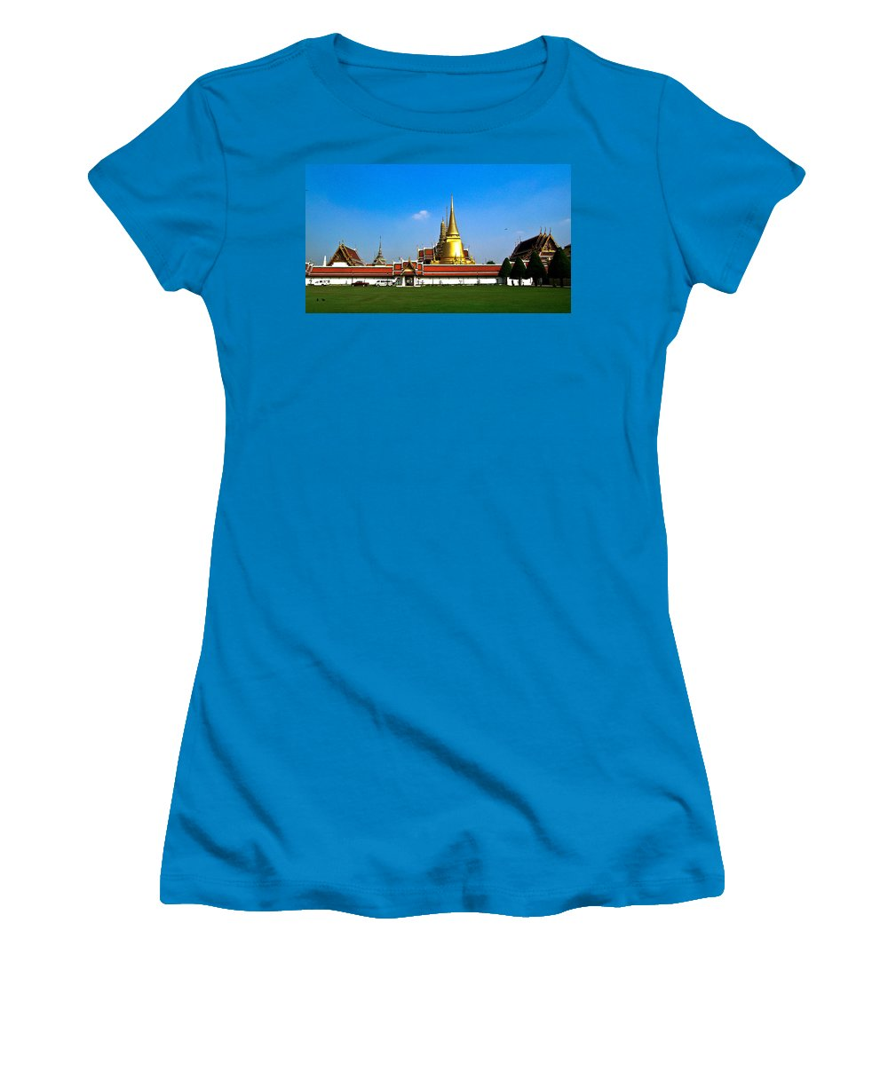 Buddha Women's T-Shirt (Athletic Fit) featuring the photograph Buddhaist Temple by Douglas Barnett