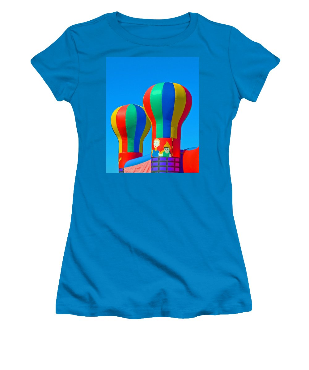 Pillow; Sky; Circus; Carnival; Country; Fair; Ball; Balloon; Colors; Colorful; Bounce; House; Castle Women's T-Shirt (Athletic Fit) featuring the photograph Circus In The Sky - Three by Allan Hughes