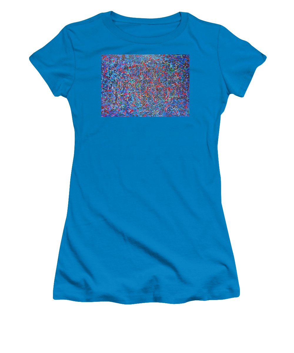 Abstract Women's T-Shirt (Athletic Fit) featuring the painting Confetti by Ericka Herazo