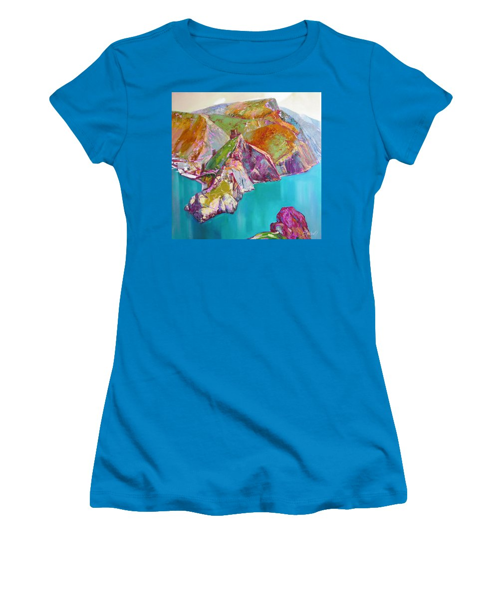 Ignatenko Women's T-Shirt (Athletic Fit) featuring the painting Entry To Balaklaw by Sergey Ignatenko