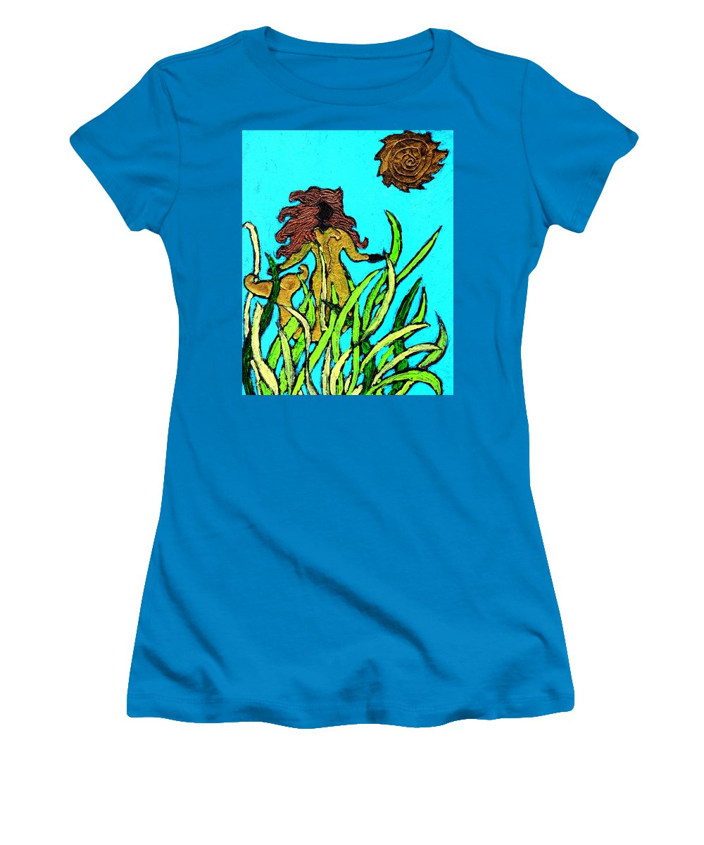 Mermaid Women's T-Shirt (Athletic Fit) featuring the painting Golden Mermaid by Wayne Potrafka