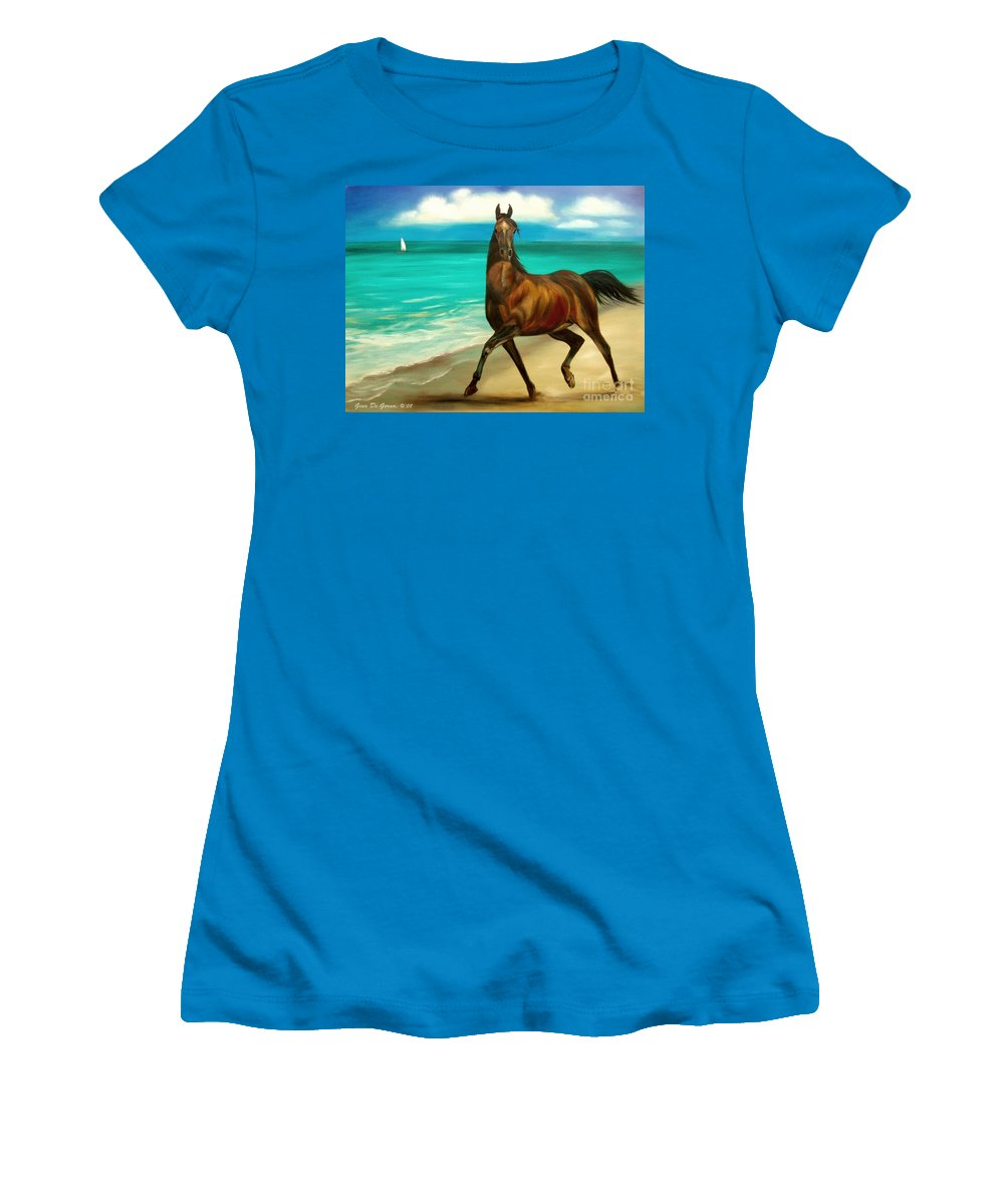 Horse Women's T-Shirt (Athletic Fit) featuring the painting Horses In Paradise Dance by Gina De Gorna