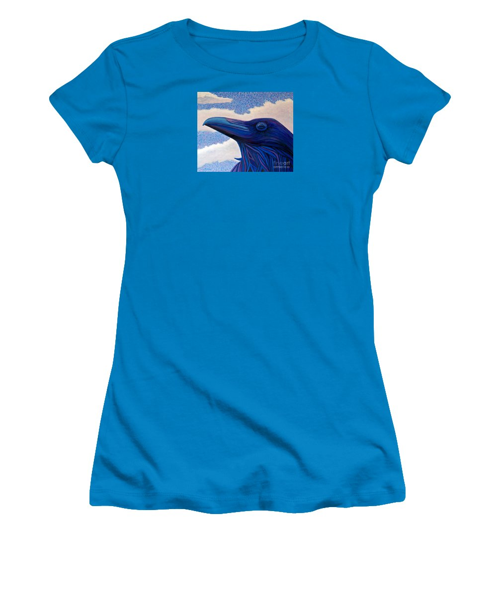 Raven Women's T-Shirt (Athletic Fit) featuring the painting Just Once by Brian Commerford