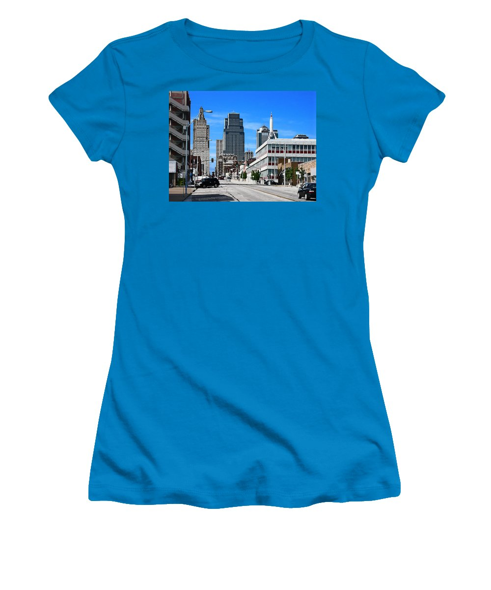 City Scape Women's T-Shirt (Athletic Fit) featuring the photograph Kansas City Cross Roads by Steve Karol