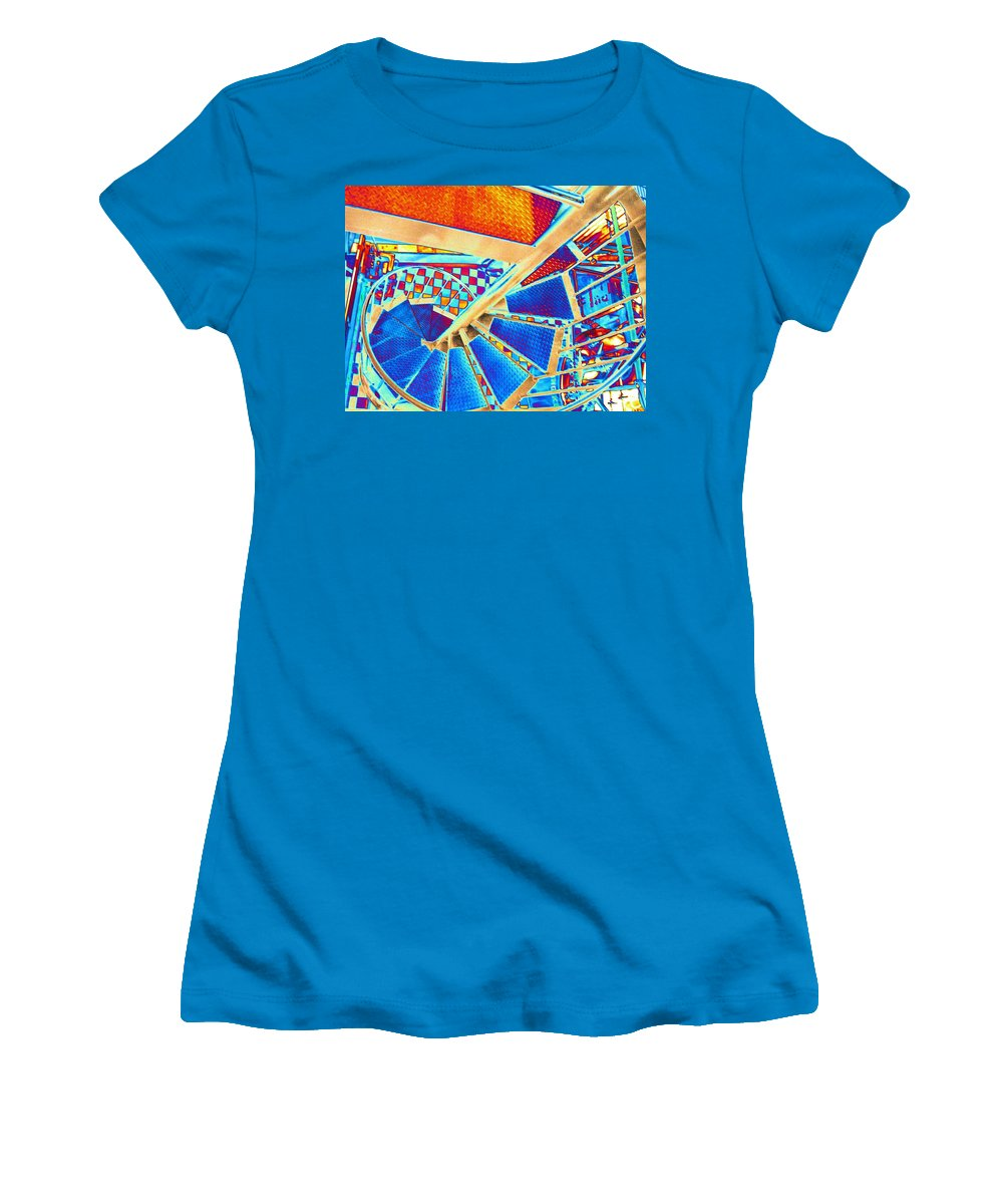 Seattle Women's T-Shirt (Athletic Fit) featuring the digital art Pike Brewpub Stair by Tim Allen