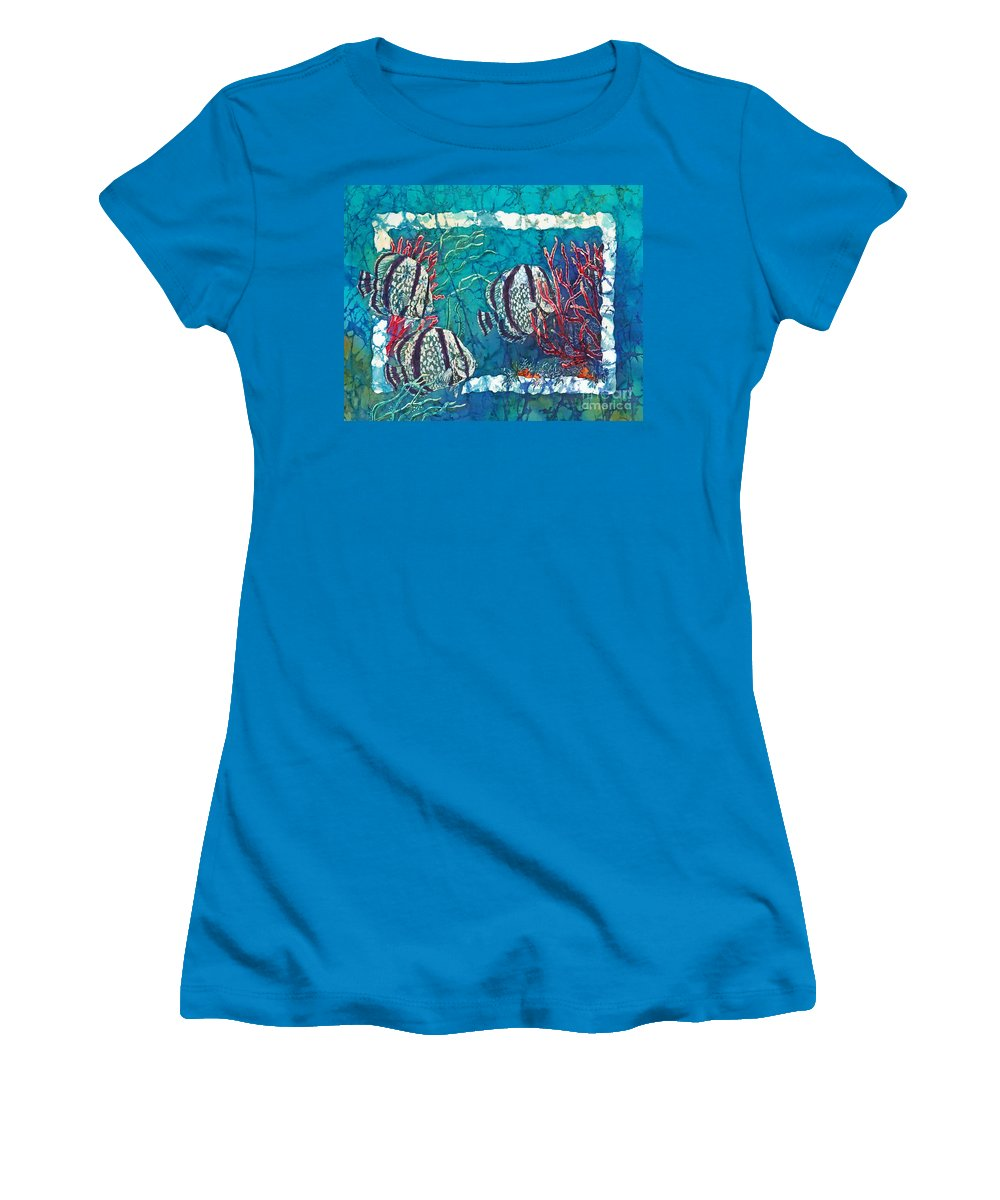 Fish Women's T-Shirt (Athletic Fit) featuring the painting Playful Trio by Sue Duda