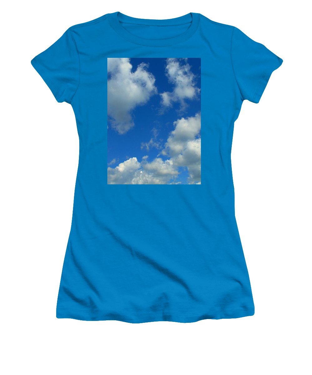 Clouds Women's T-Shirt (Athletic Fit) featuring the photograph Ploughing Under A Mid Day Sun by Ian MacDonald