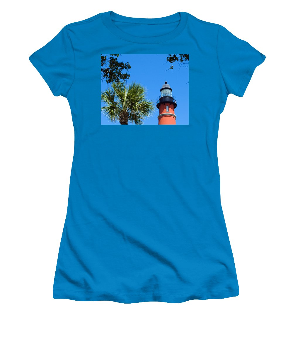 Ponce; De; Leon; Lighthouse; Light; House; Beacon; Navigation; Aid; Lens; Fresnel; Mosquito; Florida Women's T-Shirt (Athletic Fit) featuring the photograph Ponce Del Leon Inlet Florida by Allan Hughes