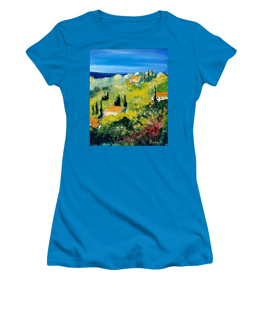 Village Women's T-Shirt (Athletic Fit) featuring the painting Provence 459070 by Pol Ledent