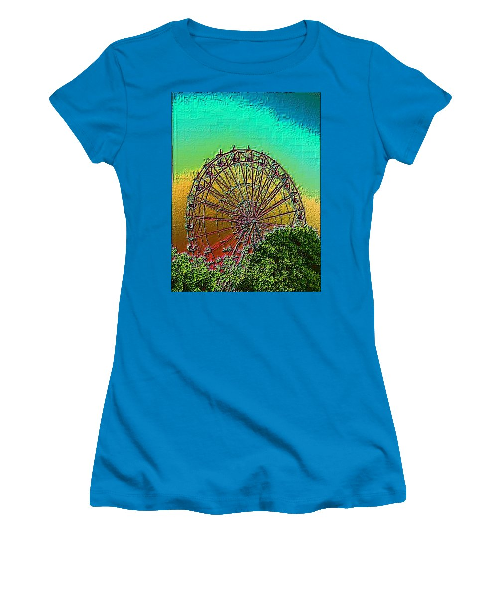 Rainbow Women's T-Shirt (Athletic Fit) featuring the photograph Rainbow Ferris Wheel by Tim Allen