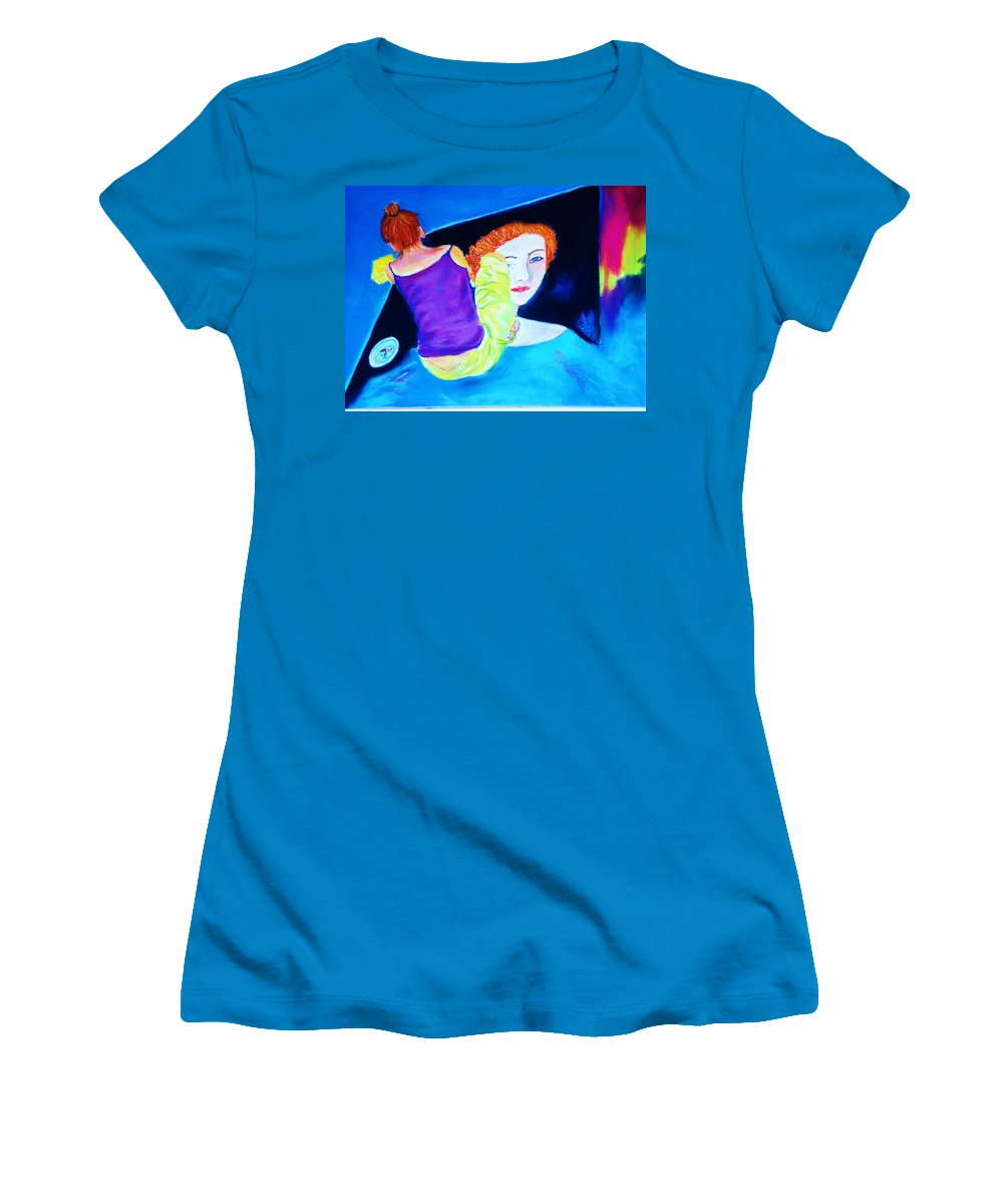 Painting Within A Painting Women's T-Shirt (Athletic Fit) featuring the print Sidewalk Artist II by Melinda Etzold