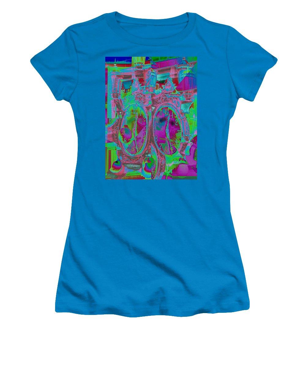 Clock Women's T-Shirt (Athletic Fit) featuring the digital art Sidewalk Timepiece by Tim Allen