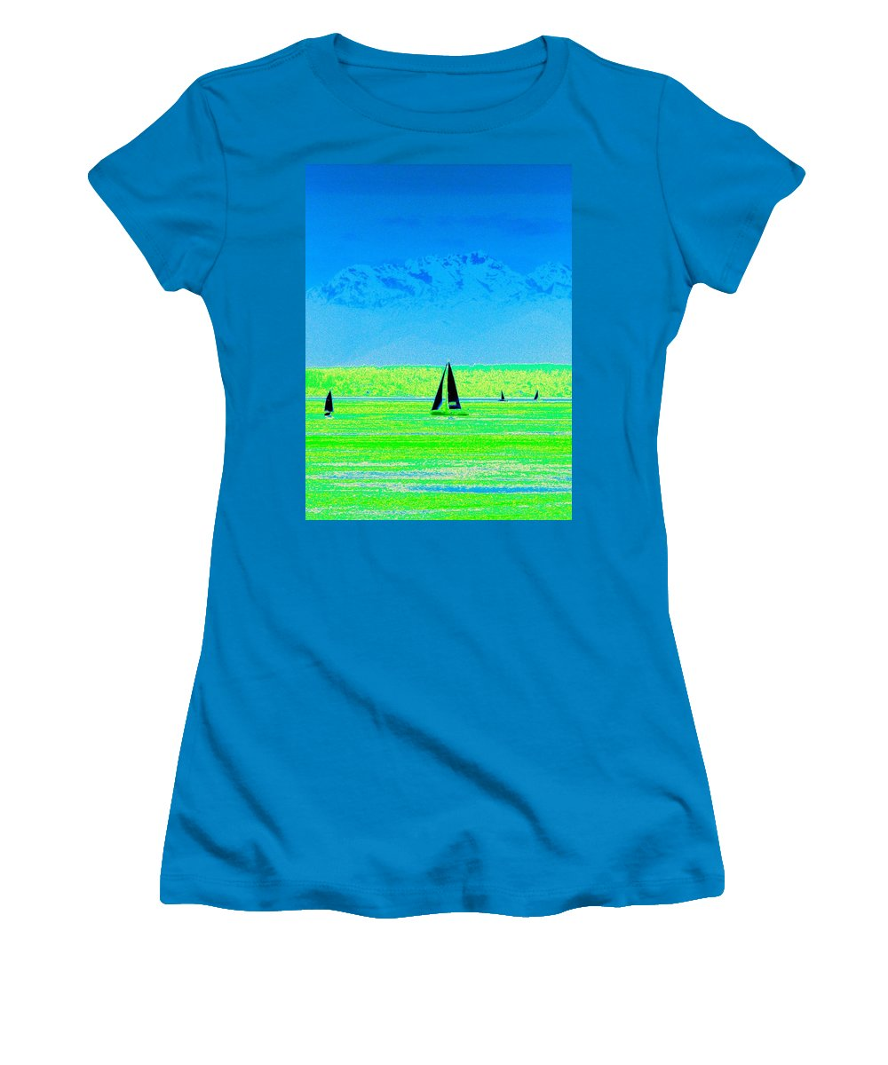 Sail Women's T-Shirt (Athletic Fit) featuring the photograph Sound Sailin by Tim Allen