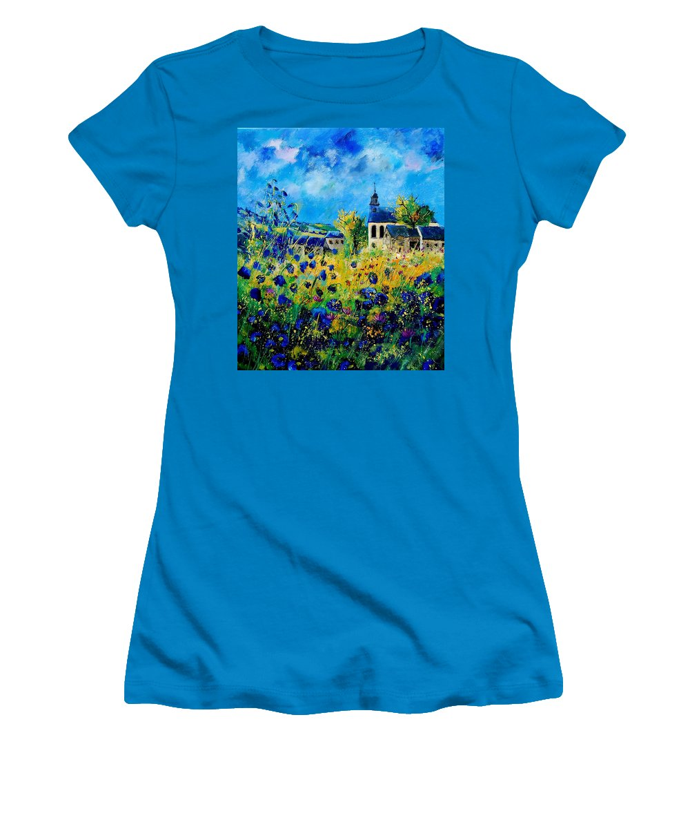 Poppies Women's T-Shirt (Athletic Fit) featuring the painting Summer In Foy Notre Dame by Pol Ledent