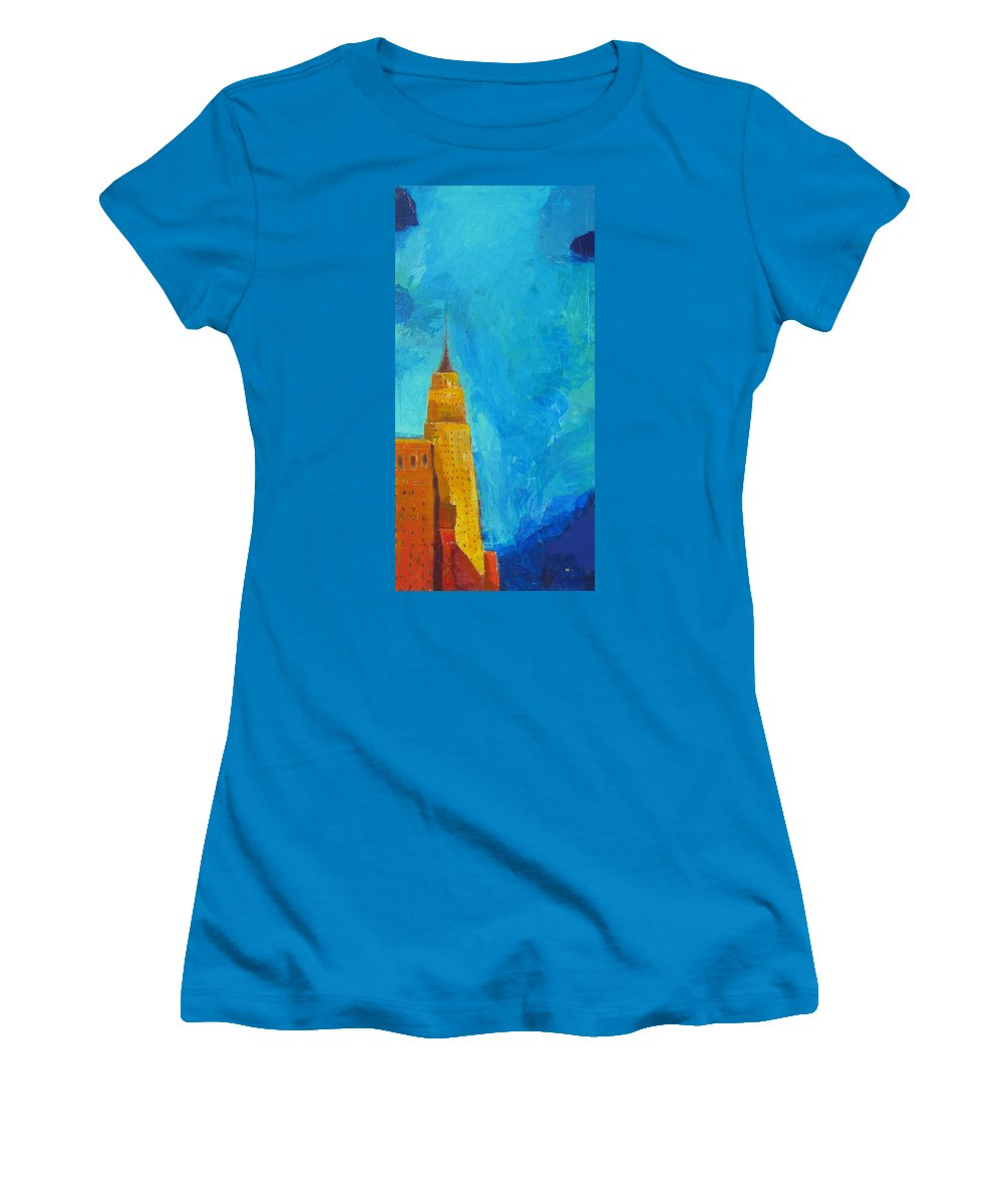 Abstract Cityscape Women's T-Shirt (Athletic Fit) featuring the painting The Empire State by Habib Ayat