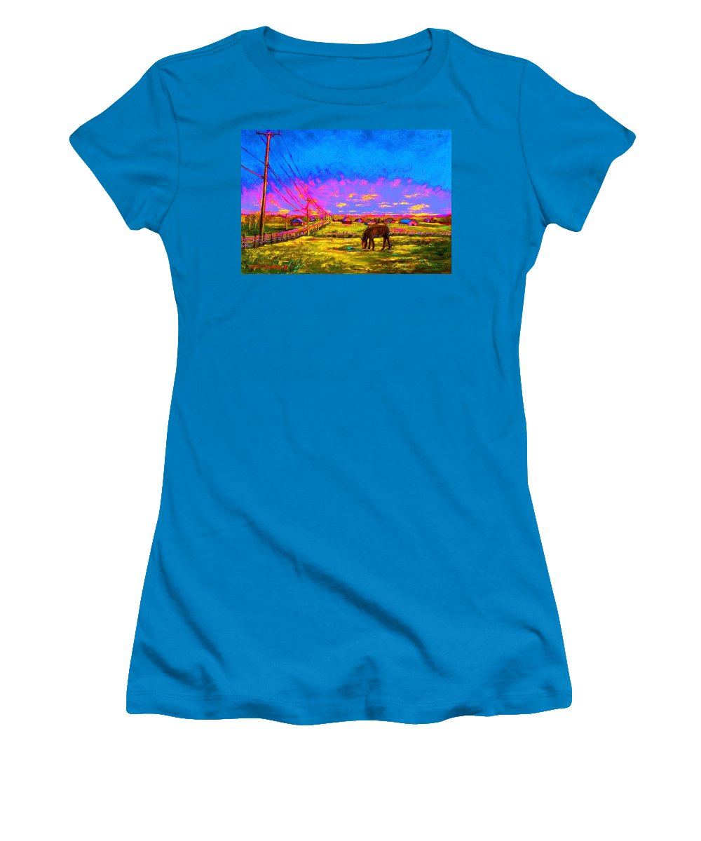 Western Art Women's T-Shirt (Athletic Fit) featuring the painting The Golden Meadow by Carole Spandau