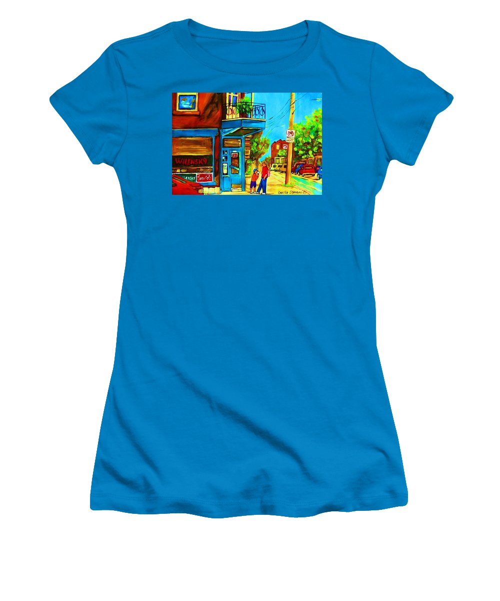 Wilenskys Deli Women's T-Shirt (Athletic Fit) featuring the painting The Icecream Cone by Carole Spandau