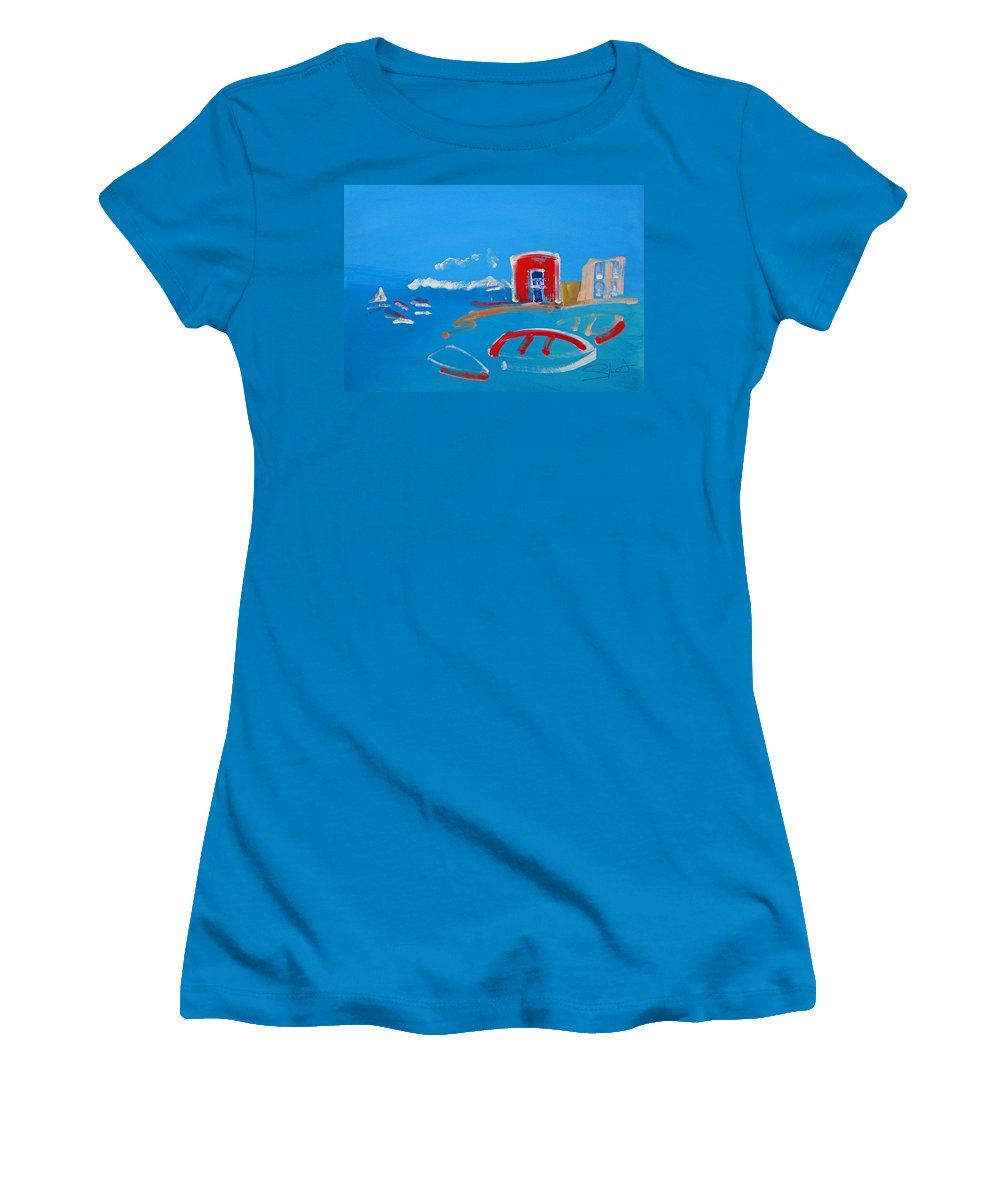 Puerto Women's T-Shirt (Athletic Fit) featuring the painting The Red House La Casa Roja by Charles Stuart