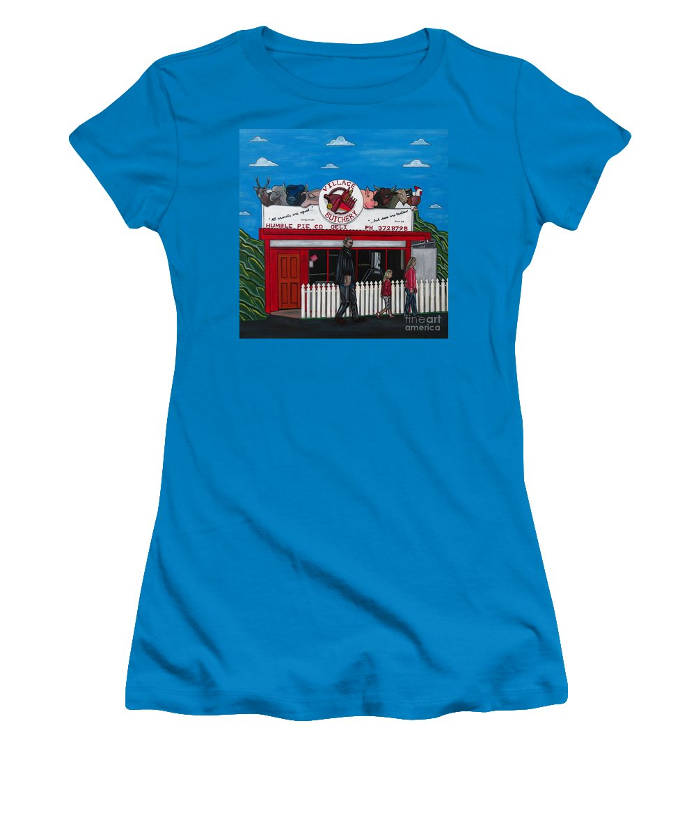 Buildings Women's T-Shirt (Athletic Fit) featuring the painting The Village by Sandra Marie Adams