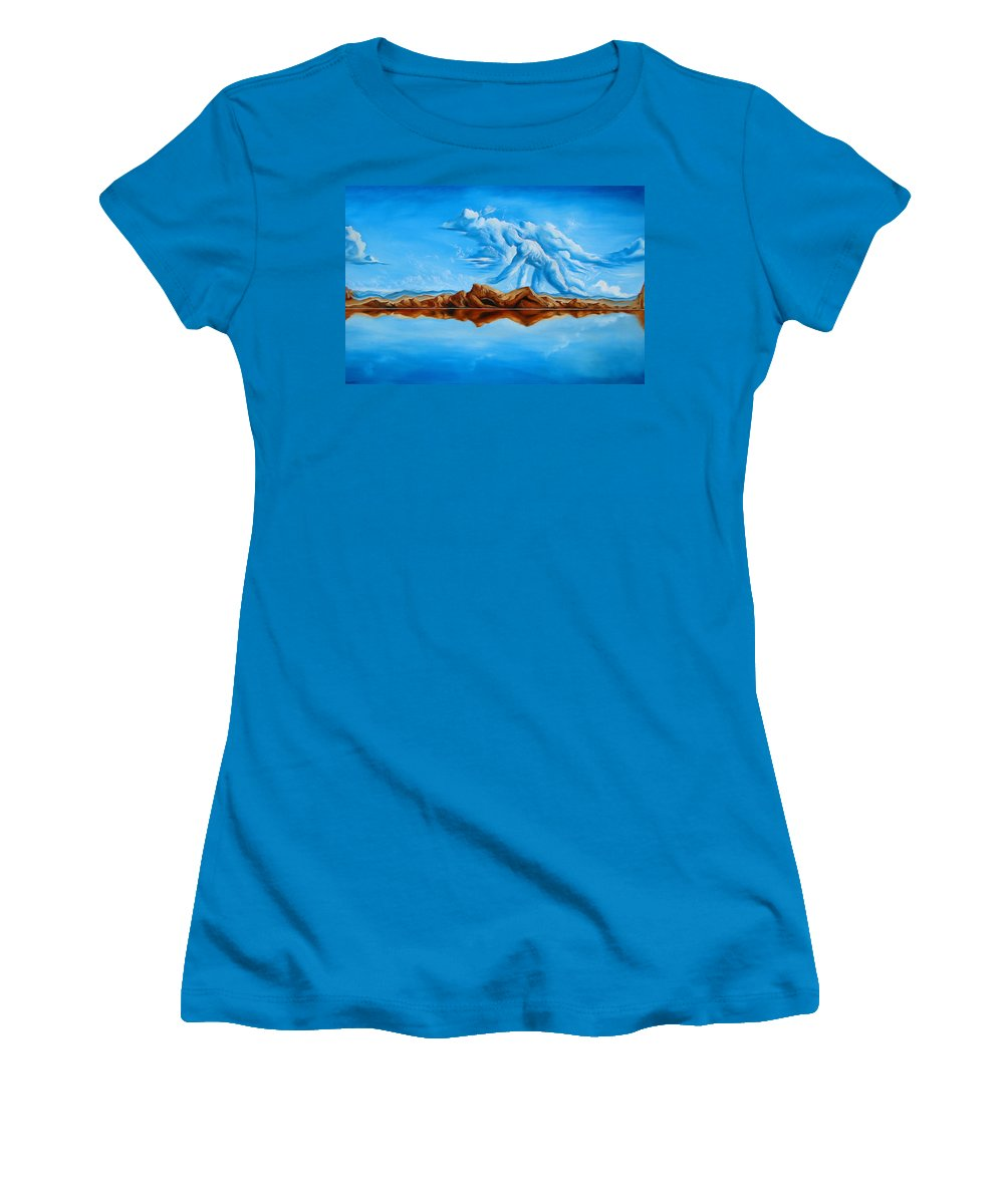 Surrealism Women's T-Shirt (Athletic Fit) featuring the painting Unfinished Business by Darwin Leon