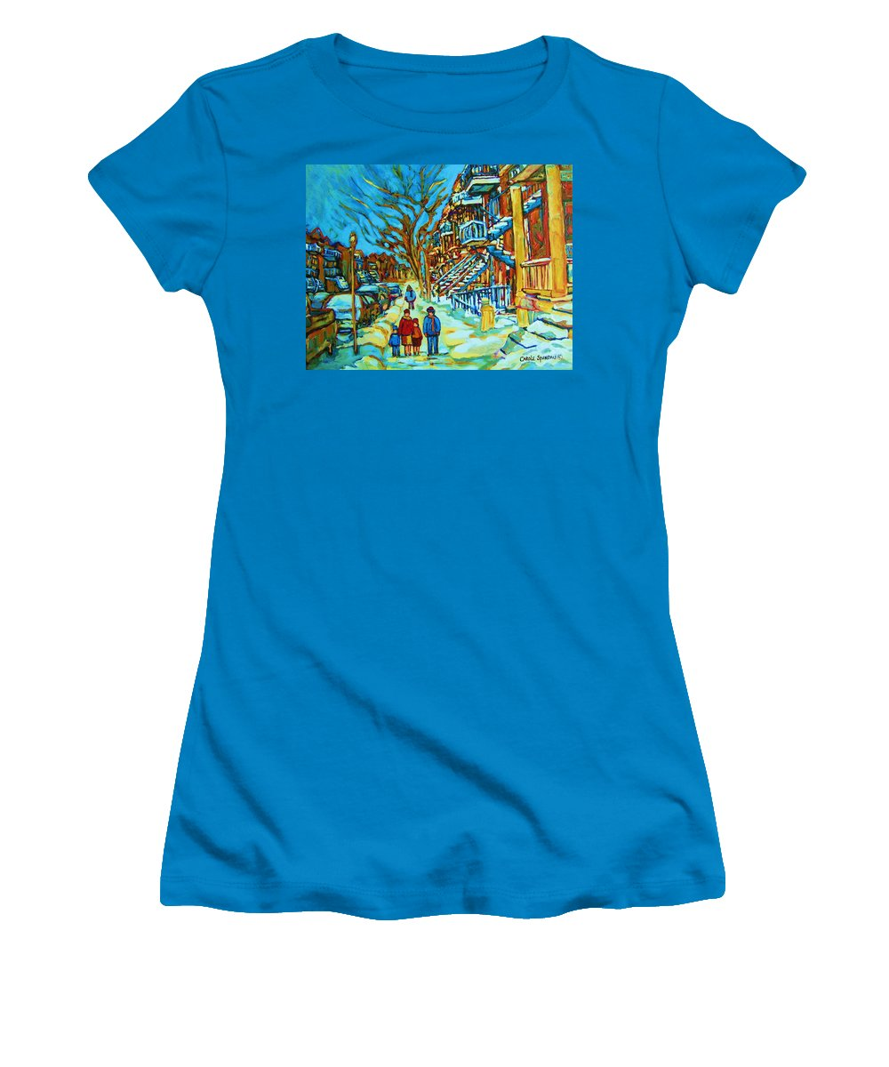 Winterscenes Women's T-Shirt (Athletic Fit) featuring the painting Winter Walk In The City by Carole Spandau