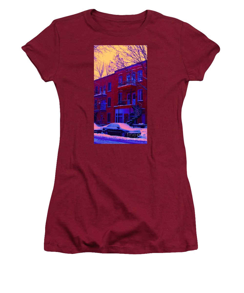 Montreal Women's T-Shirt (Athletic Fit) featuring the photograph Brownstones In Winter 6 by Carole Spandau